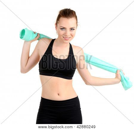 Young woman with towel after workout isolated on white