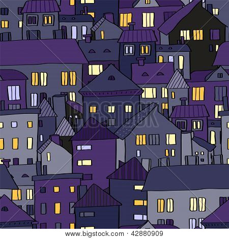 Panorama view old town at night in violet seamless pattern, vector