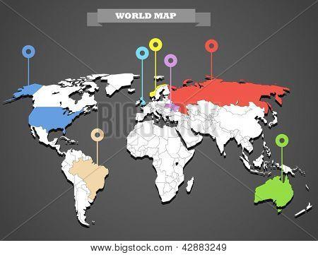 Plantilla de infografía mapa mundial. Todos los países son seleccionables