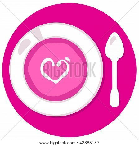 Pink Valentines Love Soup In Circle Isolated On White
