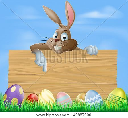 Cartoon Easter Bunny Pointing