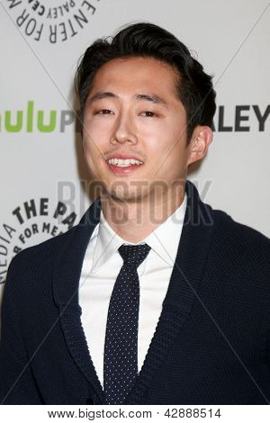 "LOS ANGELES - MAR 1:  Steven Yeun arrives at the  ""Walking Dead"" PaleyFEST Event at the Saban Theater on March 1, 2013 in Los Angeles, CA"