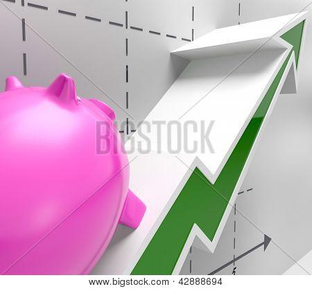 Climbing Piggy Shows Goals Success And Profit