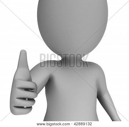 Thumbs Up Shows Support Approval And Confirmation