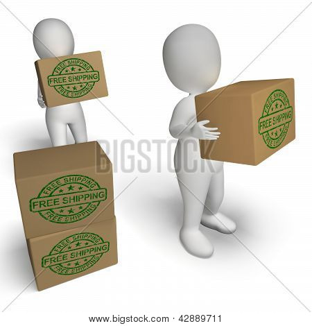 Free Shipping Stamp On Boxes Showing No Charge To Deliver
