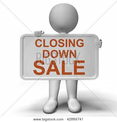 Closing Down Sale Sign Showing Store Bankrupt
