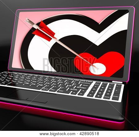 Target Heart On Laptop Shows Affection