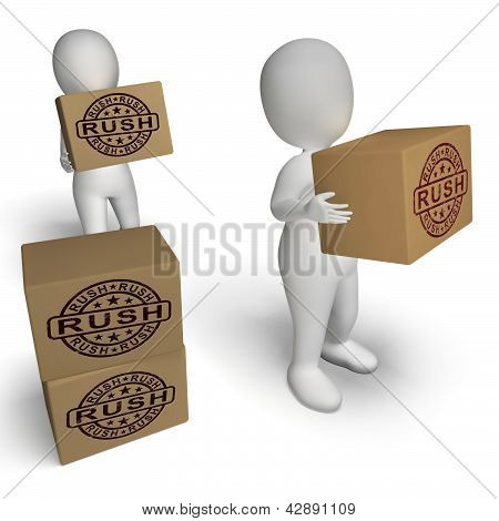 Rush Rubber Stamp On Boxes Showing Speedy Urgent Express Delivery