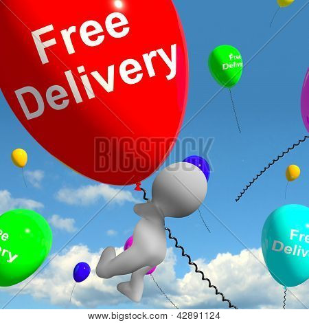 Free Delivery Balloons Showing No Charge Or Gratis To Deliver