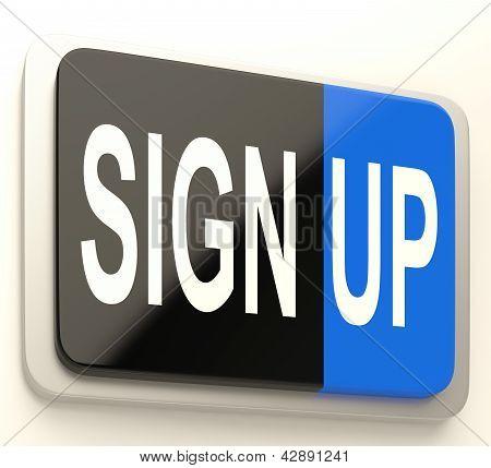 Sign Up Button Showing Website Registration