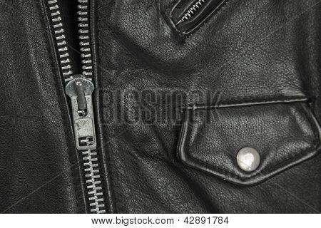 close-up of black leather jacket details