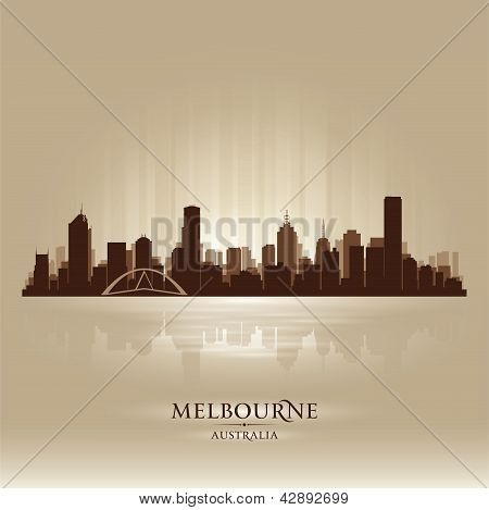 Melbourne Australia Skyline City Silhouette