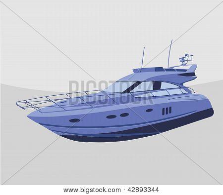 Blue yacht. Vector  icon eps8