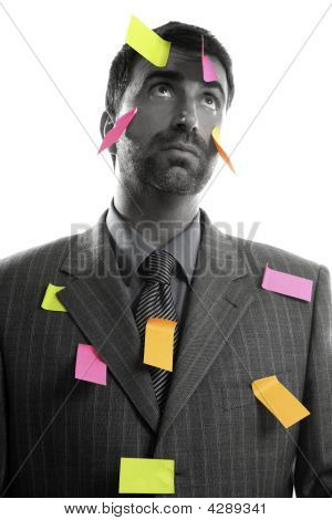 Businessman Full Of Memo Stock Message Notes