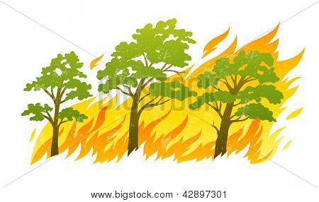 burning forest trees in fire flames - natural disaster concept, isolated on white background. Rasterized illustration. Vector version also available in my gallery.