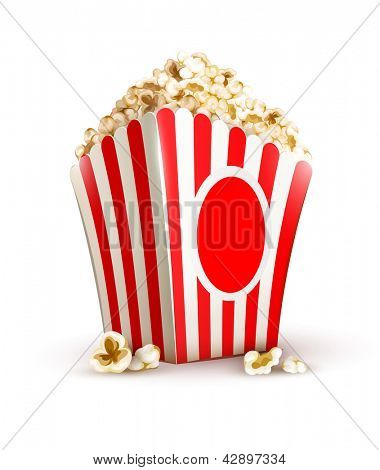paper bag full of popcorn isolated on white background. Rasterized illustration. Vector version also available in my gallery.