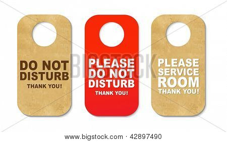3 Do Not Disturb Sign, Isolated On White Background