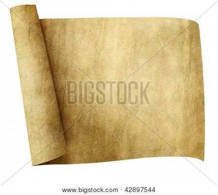 old parchment paper scroll isolated on white background