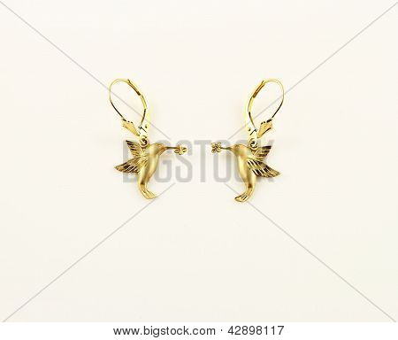 Earrings with hummingbirds