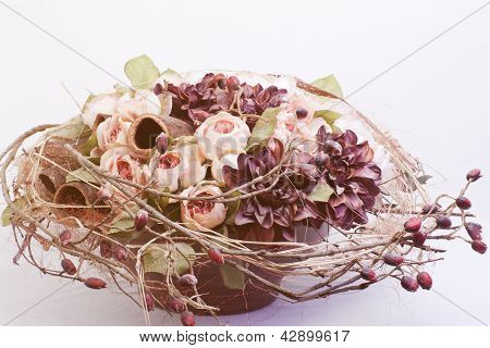 Flower Composition With Yellow And Purple Shades