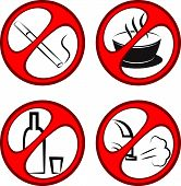 stock photo of gases  - Vector round prohibiting signs - JPG