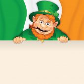 stock photo of irish flag  - Cartoon Leprechaun with Sign over Irish Flag - JPG