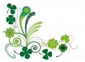 image of four leaf clover  - Raster illustration of three and four clover leaves for Patrick - JPG