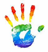 stock photo of fingerprint  - Rainbow painted hand shape isolated on white - JPG