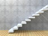 stock photo of climbing wall  - Concept or conceptual white stone or concrete stair or steps near a wall background with wood floor - JPG
