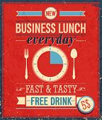 stock photo of lunch  - Vintage Bussiness Lunch Poster - JPG