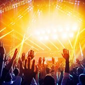 stock photo of club party  - Picture of a lot of people enjoying night perfomance of famous dj - JPG