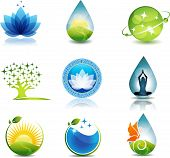 image of symbols  - Nature and health care symbols  Beautiful concepts on nature and health theme  Can be used as company symbols or other purposes  Bright and eye catching design - JPG