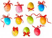 stock photo of red clover  - Decorative easter eggs - JPG