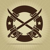 stock photo of crossed swords  - Vintage Blank Seal with Crossed Swords - JPG