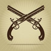pic of crossed pistols  - Vintage Crossed Flintlock Pistols - JPG