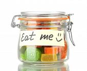 image of eat me  - Multicolor candies in glass jar - JPG