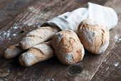 picture of baguette  - Freshly baked golden French baguette and boulle - JPG