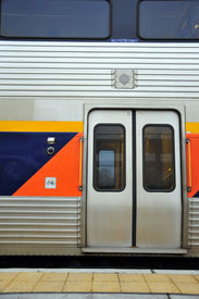 picture of amtrak  - Passenger loading doors of Amtrak San Joaquin train - JPG