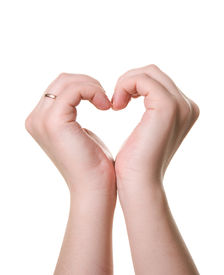 foto of hand heart  - shape of heart made from two hands - JPG