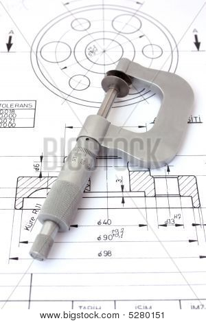 Micrometer On Technical Drawing. Vertical
