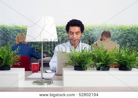 Business man working in a green office