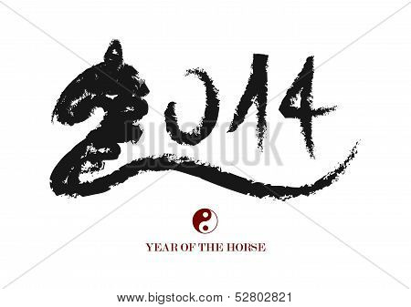 Chinese New Year Of The Horse Brush Composition.