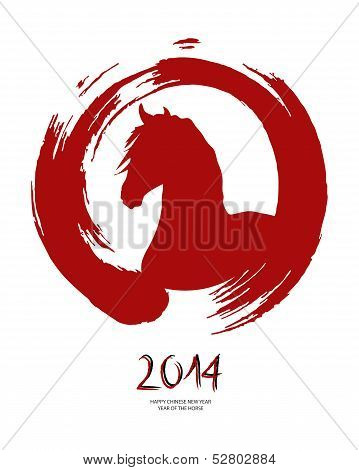 Chinese New Year Of The Horse Red Brush Zen Circle.