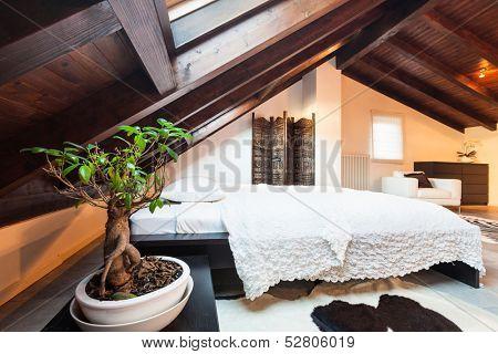 Interior, beautiful loft, luxurious bedroom