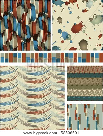 Abstract Masculine Vector Seamless Patterns. Use as fills, digital paper, or print off onto fabric to create unique items.