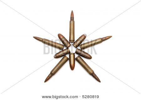 Five-pointed Star Of Various Cartridges Isolated