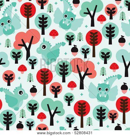 Seamless dragon woodland illustration kids background pattern in vector
