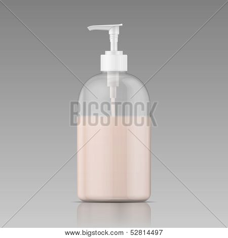 Plastic bottle for liquid soap.