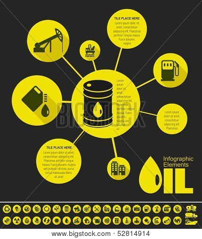 Oil Industry Infographic Elements. Plus Icon Set. Opportunity to Highlight any Country On the World Map. Vector Illustration EPS 10.