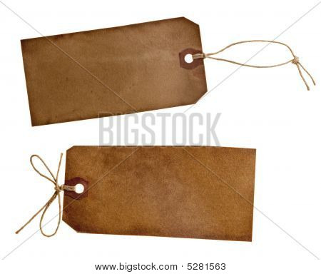 Two Different Grunge Paper Tags Isolated On White
